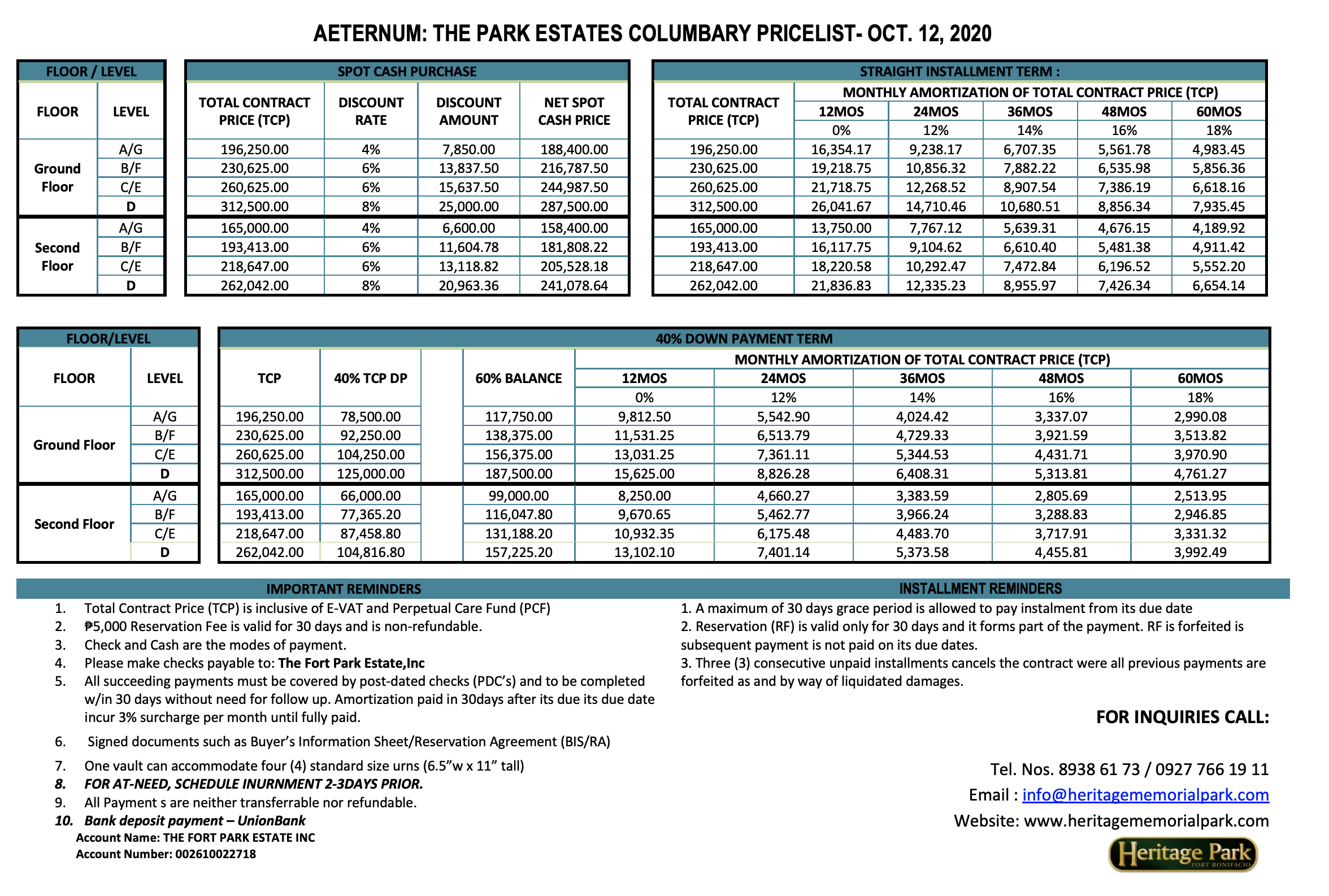 October 2020 Aeternum Columbary in Heritage Park Price list