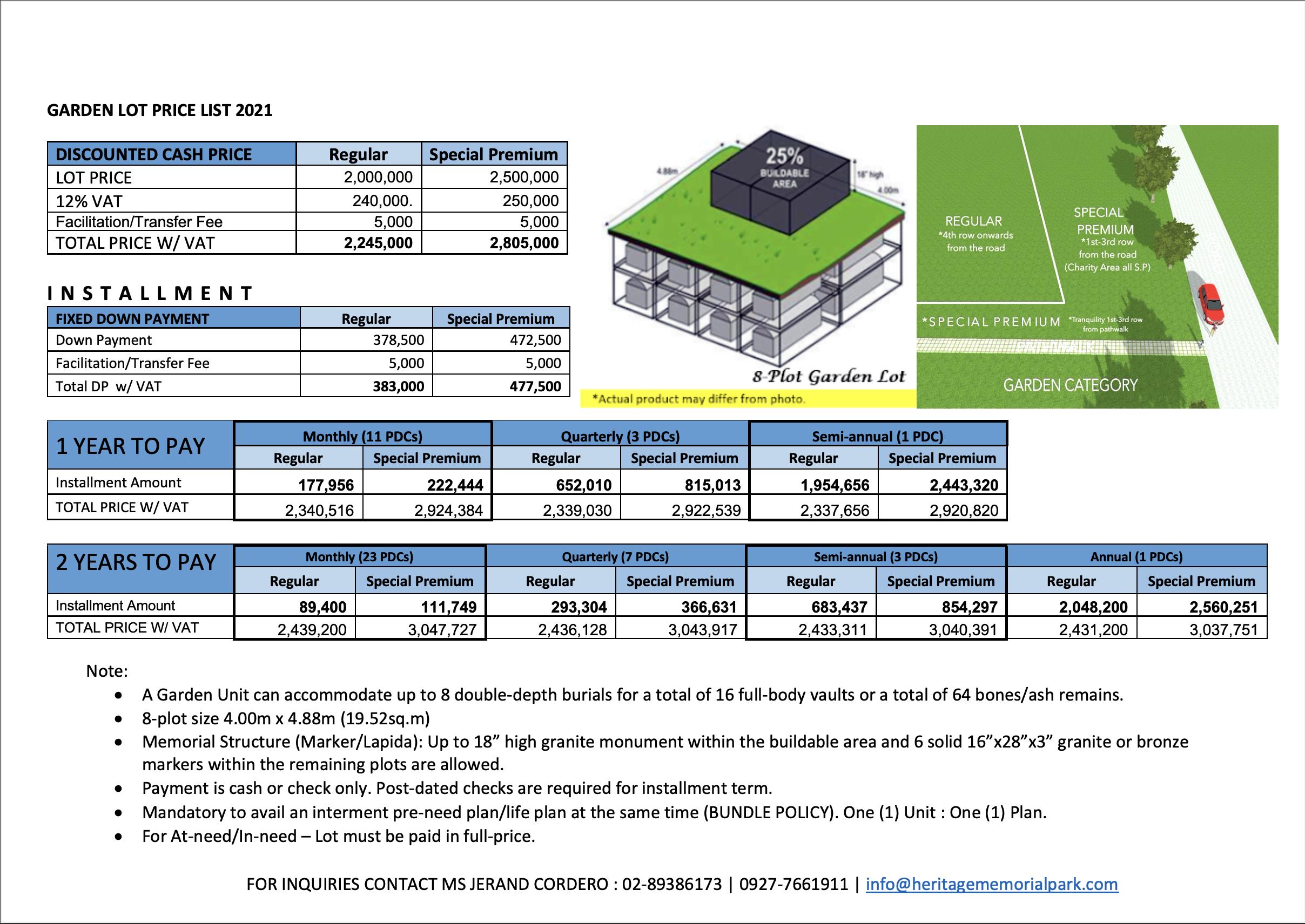Heritage Park Garden Memorial Lot price list 2021