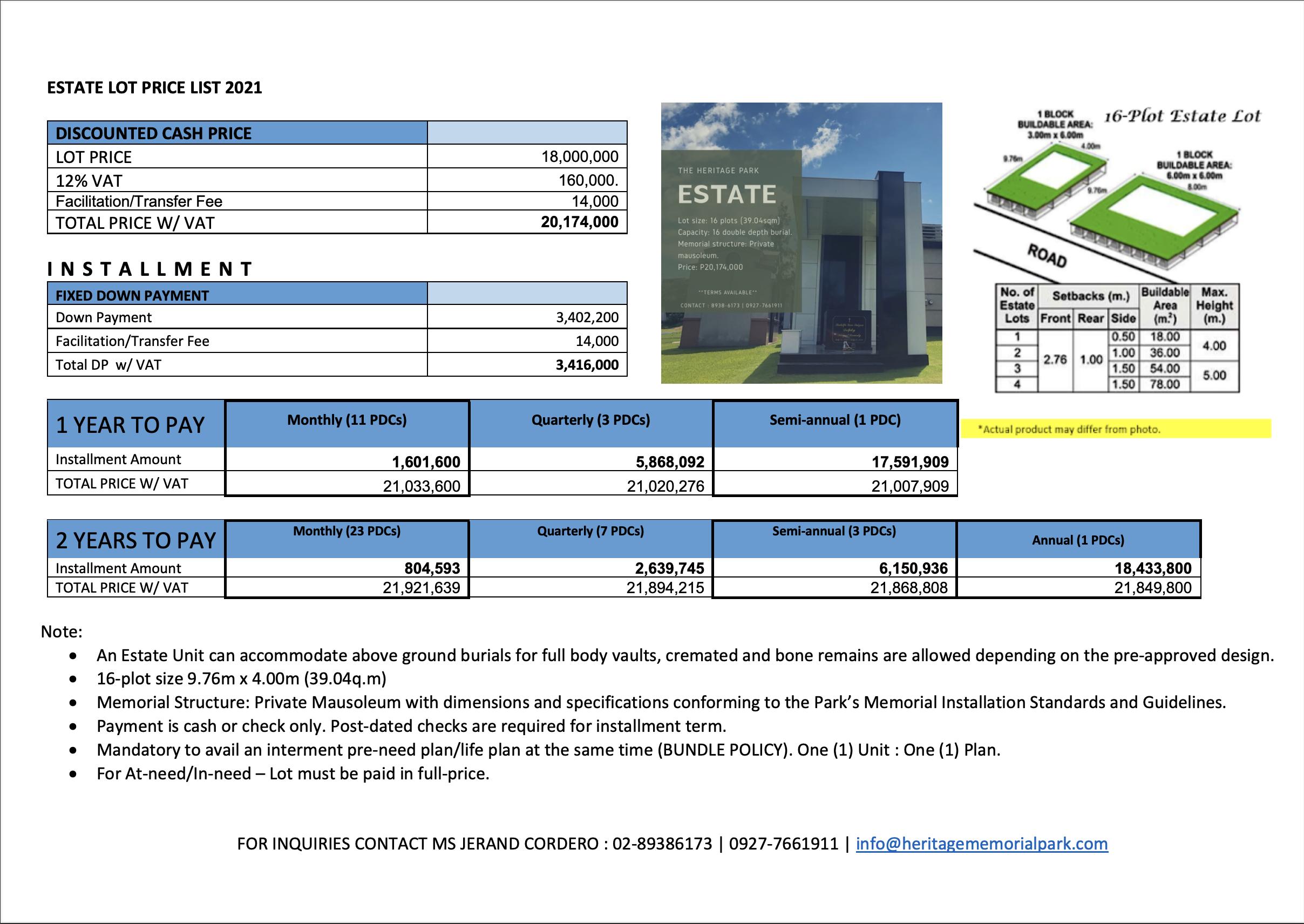 Heritage Park Estate Mausoleum Memorial Lot price list 2021