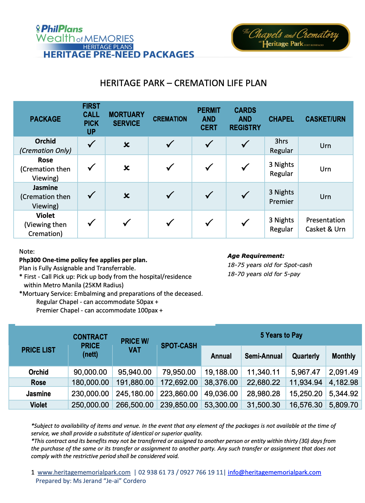 The Heritage Park pre-need cremation plans